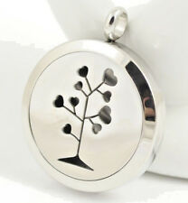 *Tree of Love Hearts Diffuser Necklace Locket Stainless Still, 10ml Oil, 11 pads