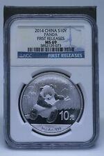 2014 China Panda First Releases 1oz .999 Silver 10 Yen NGC MS69   Stk#WS8LCLR
