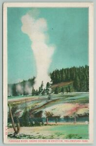 Yellowstone Park Wyoming~Firehole River Grand Geyser~1920s Postcard