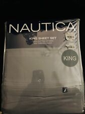 Nautica Dark Gray King Sheet Set Cotton Sateen 300 Thread Count Pillow Cases