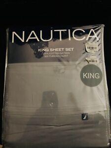 Nautica Dark Gray King Sheet Set Cotton Sateen 300 Thread Count Pillow Cases