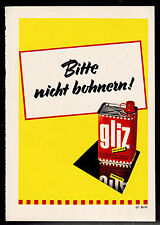 3w1966/ Alte Reklame von 1960 - GLIZ glänzt ohne Bohnern viele Wochen.