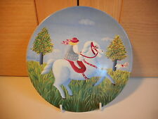 POOLE POTTERY GIRL ON A WHITE HORSE WALL PLAQUE PLATE HERMA K 1985