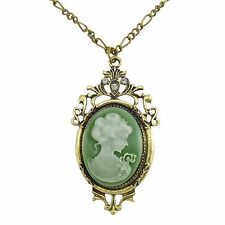 Cameo Necklace Steampunk Vintage Victorian Sage Antiqued Bronze Pendant Jewelry