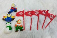 Mr Christmas Santa's Ski Slope Replacement Pieces 4 Decorative Figures 5 Flags