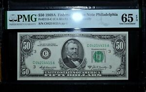 1969-A $50 FEDERAL RESERVE NOTE ✪ PMG GEM-65-EPQ ✪ FR 2115-C UNC 415 ◢TRUSTED◣