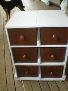 6 old deep pine draws re purposed into a craft storage cabinet on castors