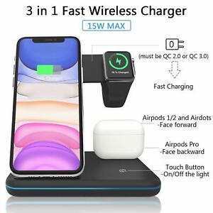 Wireless Charger, ZHIKE 3 in 1 Qi-Certified 15W Fast Charging Station(No Plug...