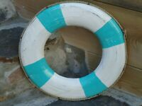 Ships Life Ring Shabby Chic Turquoise Wooden & White Lifebuoy Boat Belt Buoy