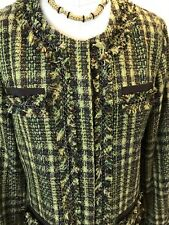 NWT CHICO'S TWEED SPARKLE CHAIN JACKET CANDY APPPLE GREEN/BROWN SZ 2 or M/12