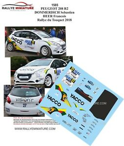 Decals 1/32 Ref 1585 Peugeot 208 R2 Dommerdich Rally Of Touquet 2018 Rally