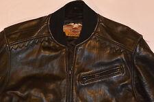 WOMEN'S 1989 GENUINE HARLEY DAVIDSON BLACK LEATHER MOTORCYCLE JACKET! BIG LOGO S