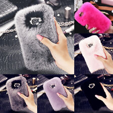 Stylish Warm Soft Faux Furry Fur Diamond Phone Case Cover For iPhone & Samsung