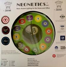 Neonetics Billiard Pool Balls Neon Green Lighted Clock Wall Art Sign New Open