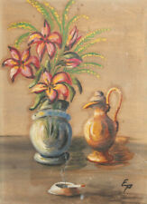 European art 1972 oil painting still life with flowers signed
