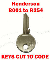 2 x Henderson R008 to R254 Garage Door Replacement Keys Cut to Code