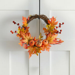 LED Halloween Front Door Wreath Autumn Maple Leaf Garland with String Light Deco