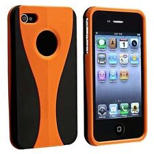 Orange / Black Cup-shape Snap-on Rubber Coated Case for Apple iPhone 4/4S