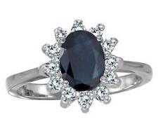 Sapphire and 1/3ct Genuine Diamond Ring 14K White Gold Genuine 8x6 Oval Blue