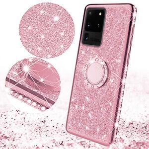 Glitter Bling Diamond Magnetic Ring Holder Silicone Case Cover For Samsung Phone