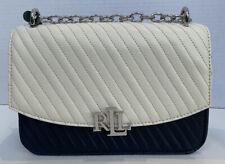 Ralph Lauren Navy White Bag Handbag Leather Shoulder Bag Lock Blue Silver New