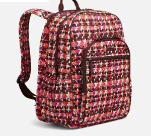 New VERA BRADLEY Campus Tech Backpack HOUNDSTOOTH black & red plaid school bag