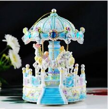 LED BLUE house Carousel Music Box /MERRYGO ROUND Classic Music box with 29 SONG