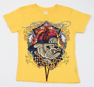Ed Hardy Signature Bull Dog Tattoo Logo Yellow Tee T Shirt Boys Size 5/6 NWT