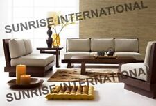 Contemporary  Wooden Sofa Set  3 + 1 + 1 + Center table + 2 Side tables !!