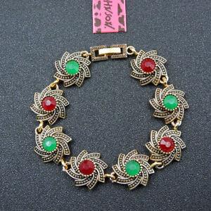 Betsey Johnson Fashion Jewelry Retro Multicolor Gemstone Bangle Bracelet