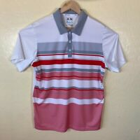 Adidas Golf Polo Shirt Mens Large Climacool White Red Striped Golfer
