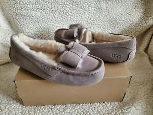 NWB UGG Women's Ansley Twinface Bow Shearling Moccasin Slippers Gray Size 8