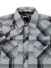 BKE Buckle Western Shirt Mens Small LS Slim Fit Blue Black Plaid Pearl Snaps