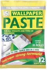 10 ROLL WALLPAPER PASTE PK 12 PINTS SUPER STRONG STICK ADHESIVE ALL PURPOSE-0725