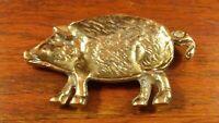 Vintage Brass Pig Piggy Hog Trinket Dish