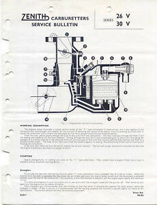 Zenith Carburetter original Service Bulletin Series 26V & 30V