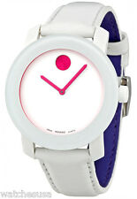 Movado 3600020 Bold White Dial Leather Strap Ladies Watch