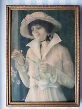 RARE c.1920 Framed Vintage Pretty Lady Print Bows Flowers Bonnet Pink Gossamer