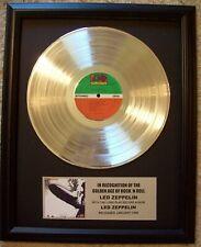 Led Zeppelin Platinum White Gold Plated Lp Record + Mini Album Disc with Plaque