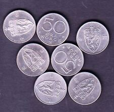 7 NORWAY COINS, 50 ORE, DIFFERENT YEARS