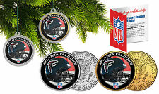 ATLANTA FALCONS Christmas Tree Ornaments JFK Half Dollar US 2-Coin Set NFL