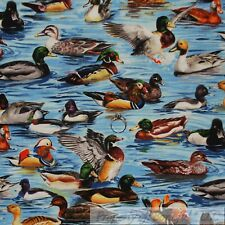 BonEful Fabric Cotton Quilt Blue Aqua Water Lake Brown Wood Duck Green Red SCRAP