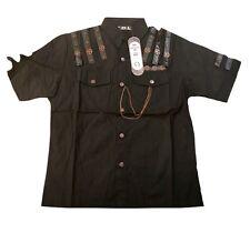 Steampunk Sdl Men's Black Cotton Shirt With Gear Cogs M