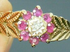 9ct Gold Ruby & Diamond Hallmarked Cluster Vintage Ring size I