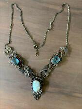 Vintage Cameo Filigree Necklace with Light Blue Gemstones