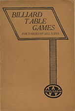 BILLIARD TABLE GAMES FOR TABLES OF ALL SIZES BY W G CLIFFORD POOL GAMES