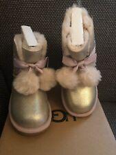 UGG UGGs Gold Gita Metallic Baby Schuhe Lammfell 28,5 28 Lamm Winterstiefel Neu