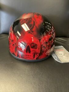 Daytona Helmets Motorcycle Half Helmet Skull Flames Red - Open Box - DOT
