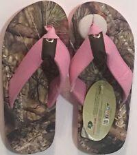 Mossy Oak Girls Youth Sz M Flip Flops Camo Brown-Multi Pink Fabric Straps