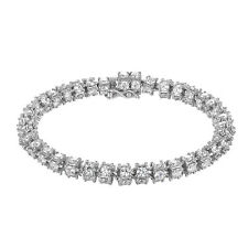 Solitaire 3D Bracelet Tennis Design Simulated Diamond Sterling Silver 6mm Luxury